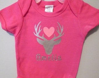 Baby Applique Body Suit, Personalized One Piece , Baby bodysuit, Baby Girl Clothes, Hunting Body Suit, Baby Shower Gift