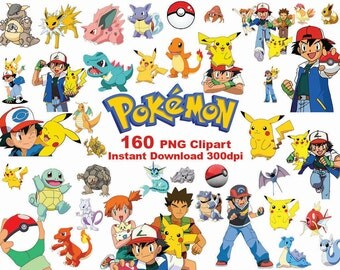 INSTANT DL- 160 PNG Pokemon  Clipart - printable Digital Clipart Graphic pikachu Pokemon go Instant Download