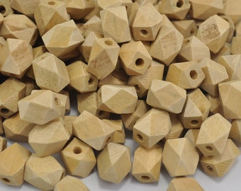 Wooden Beads,Geometric Wood Beads.Geometric Faceted Cube Wooden Beads,Natural Unfinished Unpainted beads--13 x 10mm.