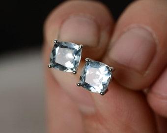 Natural Aquamarine Earring Stud Sterling Silver Cushion Cut Aquamarine Gemstone Stud