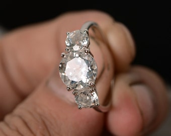 Natural White Topaz Ring Silver Three Stone Ring Promise Ring Gift