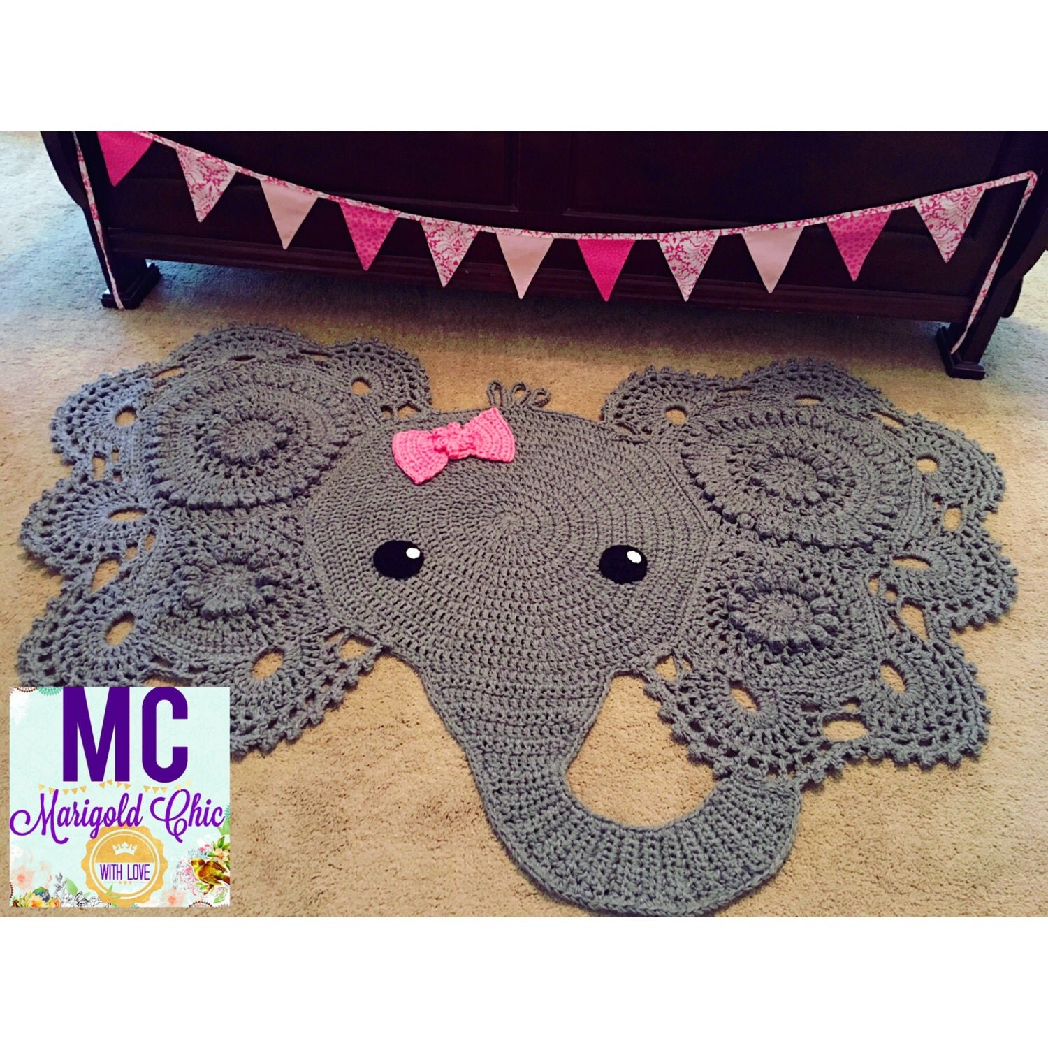 Elephant Rug THREE Strand Yarn Used Popular By MCMarigoldChic