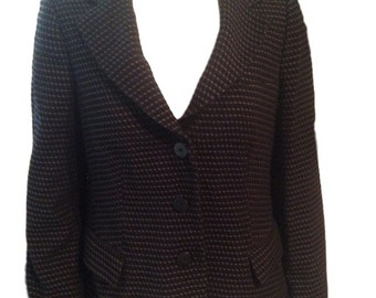 Armani Collezioni Black and White Wool Blend Jacket - Size 10 - Made in Italy