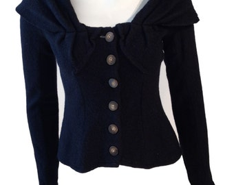 Black Wool Buttondown Cardigan Sweater - Size Small