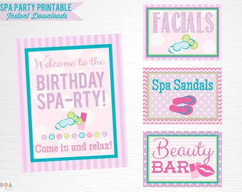 Spa Birthday Party Printable Signs Door Sign Facials Spa Sandals Beauty Bar Digital Instant Download