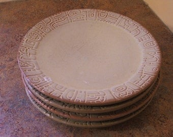 Set of Four (4) 1960s Frankoma Mayan Aztec 7F Luncheon Plates in Desert Gold