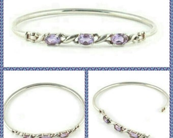 Sterling Silver Amethyst Bangle- Bracelet, 8.5 Grams, Oval Bangle