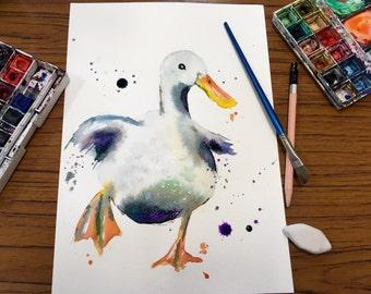 Watercolour Painting - duck Painting - Painting - Watercolour Print - Duck Print - Running Duck Print - Duck Nursery Decor - Art Print