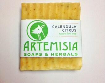 Calendula Citrus, handmade, natural lard soap with calendula petals, lemon and other citrus essential oils