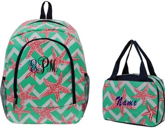 Personalized Backpack and lunch bag setStarfish print backpack and lunch bag set Girls personalized backpack