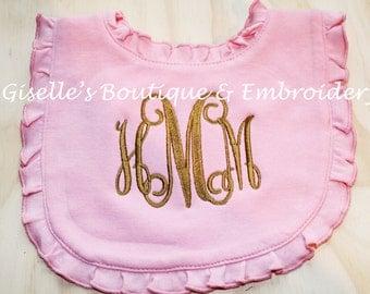 Monogrammed Ruffle Pink Bib