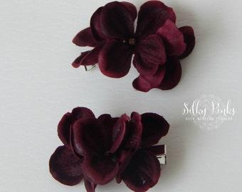 Hydrangea Hair Clips, Wedding Hair Accessories, Burgundy Hair Decorations, Flower Hair Clips