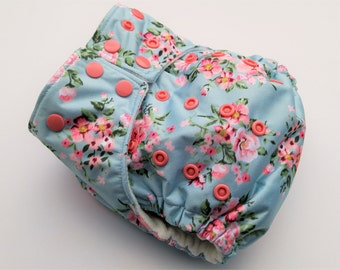 Vintage Roses ~ One Size Pocket Cloth Diaper ~ Reusable Diapers ~ Organic Cloth Diapers ~ Waterproof Diaper Cover ~ One Size Diaper Cover