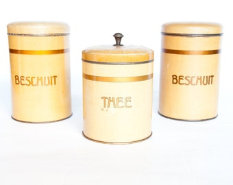 Vintage Canister Set, 1930s, 1940s, Tea Tin, Rusk Tin, Storage Containers