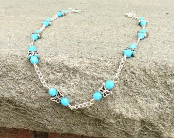 Turquoise Anklet - Silver Chain Ankle Bracelet - Butterfly Anklet - Turquoise Beaded Ankle Bracelet - Bohemian Ankle Bracelet, Beach Anklet