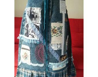 Crazy Denim cottage skirt\altered couture/tattered/ recycled skirt\ boho skirt /gypsy skirt/ shabby\art yo wear