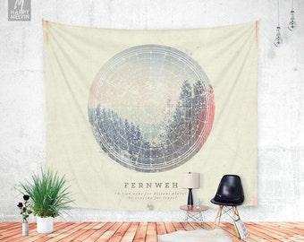 Fernweh No 2 - Wall tapestry - Tapestry - Boho - Wall Hangings - Wanderlust - Bohemian - Home decor - Dorm room - Wall decor - Dorm decor.