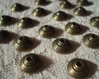 SALE! 30 Truly Tibetan Style Antiqued Bronze Stepped Caps 10x3mm. Unique and Perfect.  *USPS Ship Rates from Oregon