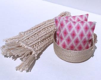 1 1/2 Inch Shabby Chic Handmade Miniature Dollhouse Throw Pillow Set - Dark Pink, Light Pink, White Diamond Pattern