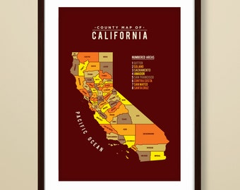Map of California, California map, California art print, map inspired print, California map print, modern map art, California State