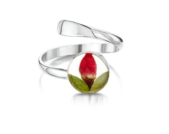 Silver Ring (Adjustable) - Rose - Round (RRA01)
