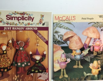 Simplicity Just Hangin' Around, Hangin' Dolls, McCall's Creates Petal People Sewing Pattern Leaflet, Witch, Gingerbread, Paper Mache, Dolls