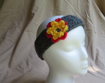 Gray Headband with Attached Yellow/Red Flower