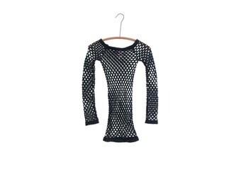 90s fishnet dress mesh dress rave outfit top fishnet top club kid black lingerie 90s goth dress festival clothing vintage 90s grunge xs s