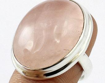 Ring sterling silver. 925 Rose quartz