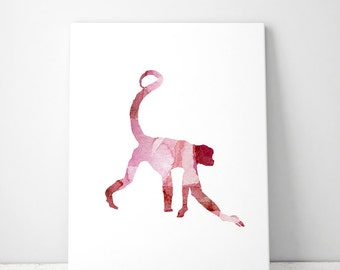 Monkey Watercolor illustration - Fine Art Print - Home Decor - Wall Decor  Animal Painting Monkey Watercolor Art - Red Pink Fantasy
