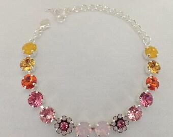 Bright Buttercup:  Swarovski Crystal Flower Bracelet in Silver Finish (8mm) Yellow, Orange, Pink