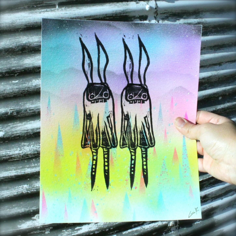 Wall art decor whimsical bunny rabbits linocut art print for Whimsical decor