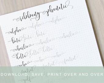 Number Names Worksheets calligraphy worksheets printable : Brush Lettering Worksheets Calligraphy Tutorial by InkMeThis