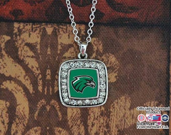 Northeastern State Riverhawks Square Necklace