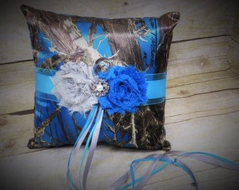 Blue Camo Ring Bearer Pillow, Blue True Timber Ring Bearer Pillow with Grey and White Accents, Wedding Pillow