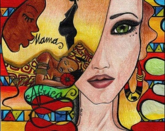 On canvas ethnic modern warm colours