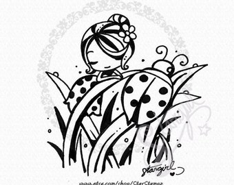 Spring Ladybug DIGITAL STAMP Instant Download