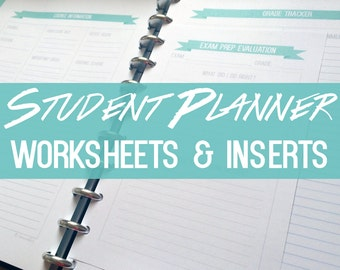 Student Planner - Worksheets and Inserts ONLY