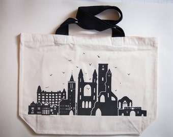 St.Andrews Skyline Scottish Strong and Handprinted Tote Bag