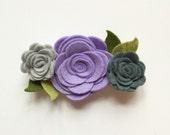 Felt flower headband, purple and grey flowers, nude nylon headband