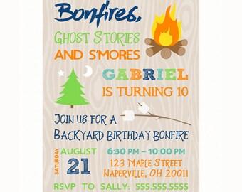 Backyard Bonfire Invitation, Boy Birthday Invitation, Personalized Printable Birthday Bonfire Invitation, S'mores Party, Camping Invitation,