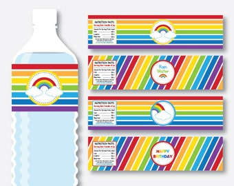 Instant Download, Rainbow Water Bottle Labels, Rainbow Water Bottle Wrappers, Rainbow Party Printable, Rainbow Decoration, Colorful (SKB.02)