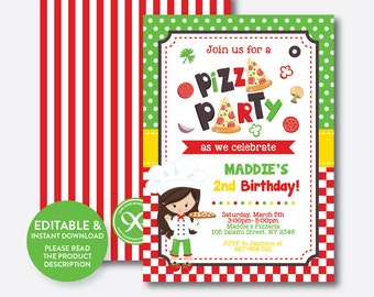Instant Download, Editable Pizza Birthday Invitation, Pizza Invitation, Pizza Party Invitation, Chef Invitation, Girl Invitation (SKB.20)