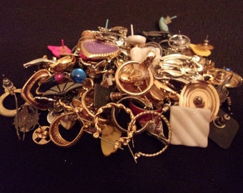 Goldtone Jewelry Craft Lot-Wearable-Reuse-Repair-Craft-Earrings-Chain-More-Lot 2