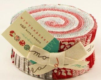 "WINTERBERRY Jelly Roll - Kate and Birdie for Moda - 2.5-Inch Strips - Fabric Strips - 2.5"" Strips - Christmas Winter Holiday-SALE"