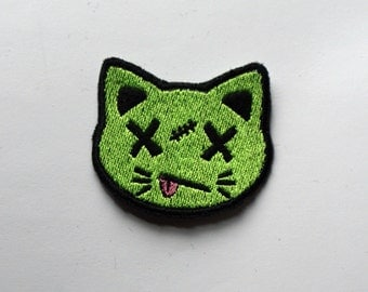 Cute zombie Kitty cat face - Custom colors! - Shiny Iron on patch