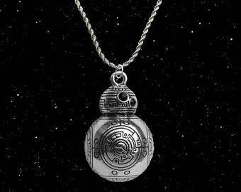 Star Wars The Force Awakens silver / faux leather necklace with BB-8 charm