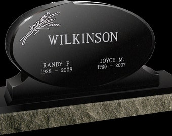 CEMETERY HEADSTONE-  Black-Polished all sides with beveled facets on tablet. Includes your engraving