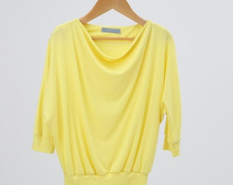 DESTOCK 80% OFF for this toddler Cowl-Neck jersey Tshirt - lemon yellow T-shirt for little and toddler girl -kids fashion Spring