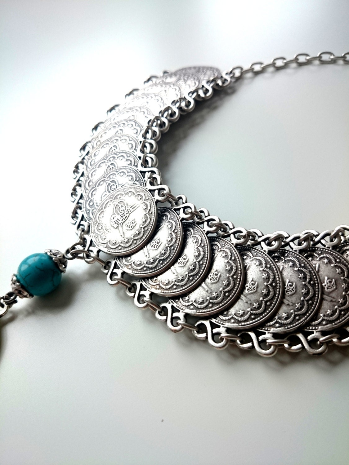 ottoman necklace silver chain turkish jewelry boho